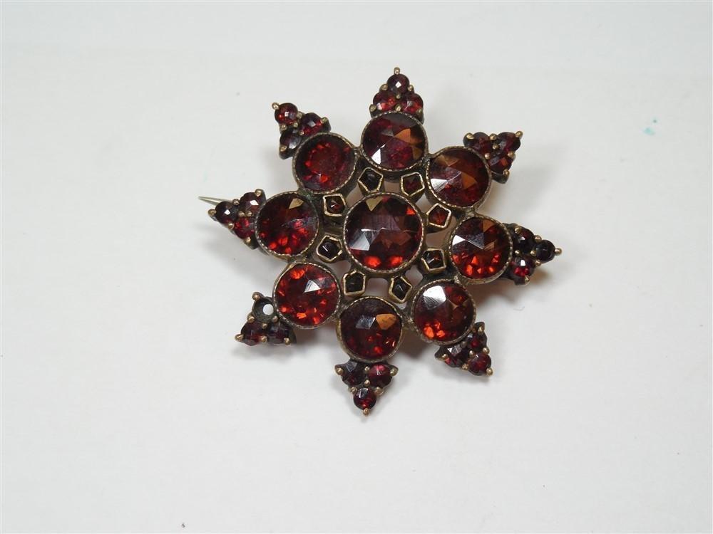 Victorian Garnet Star Brooch or Pin