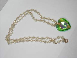 Faux Pearls and Glass Heart Jewelry Necklace