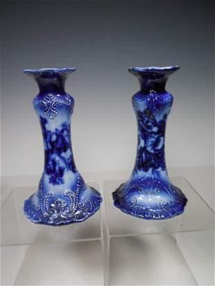 Antique Flow Blue Candlesticks w/Beaded Accent