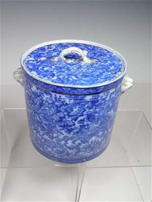 Rare Flow Blue Biscuit Jar w/Lid