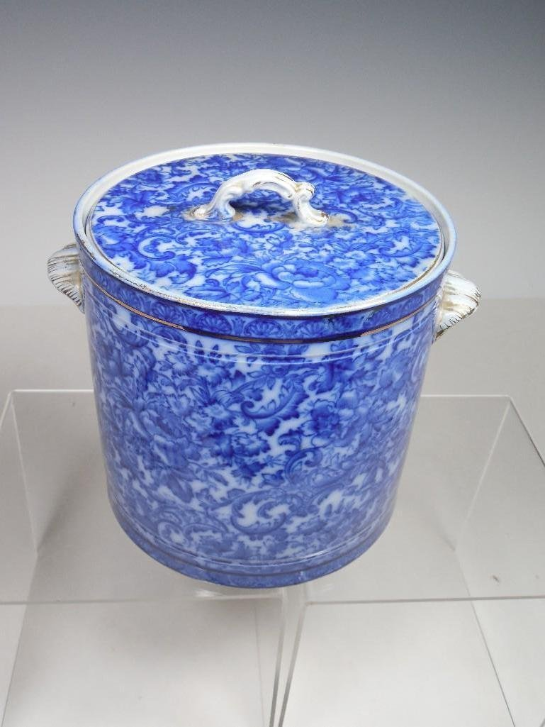 Rare Flow Blue Biscuit Jar w/Lid