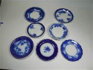 Group lot of 7 Antique Flow Blue Plates