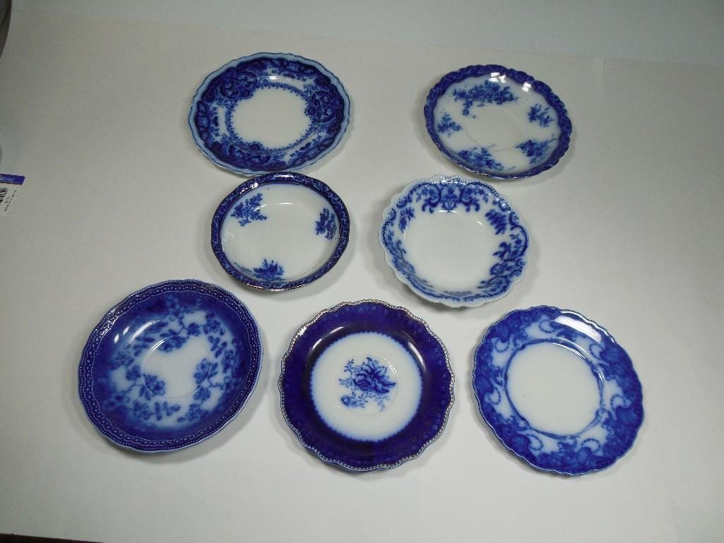 Group lot of 7 Antique Flow Blue Plates