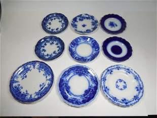 Group Lot of 9 Antique Flow Blue Plates