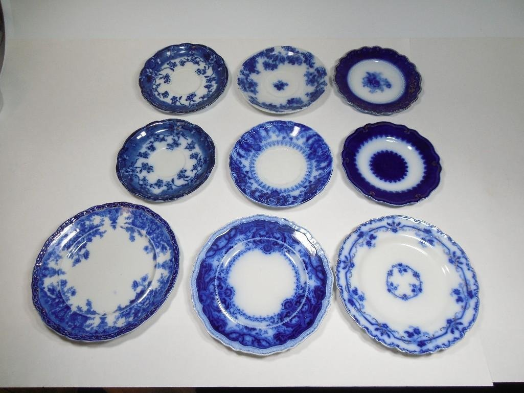 Group Lot of 9 Antique Flow Blue Plates