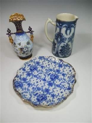 Cobalt or Flow Blue China Porcelain Lot