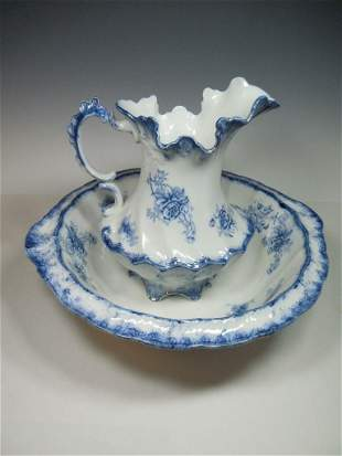 Grindley Albany Flow Blue Pitcher & Bowl Set