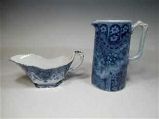 Antique Chocolate Pot and Gravy Flow Blue Pieces