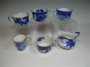 Group Lot Flow Blue Tea Cups, Creamer NICE