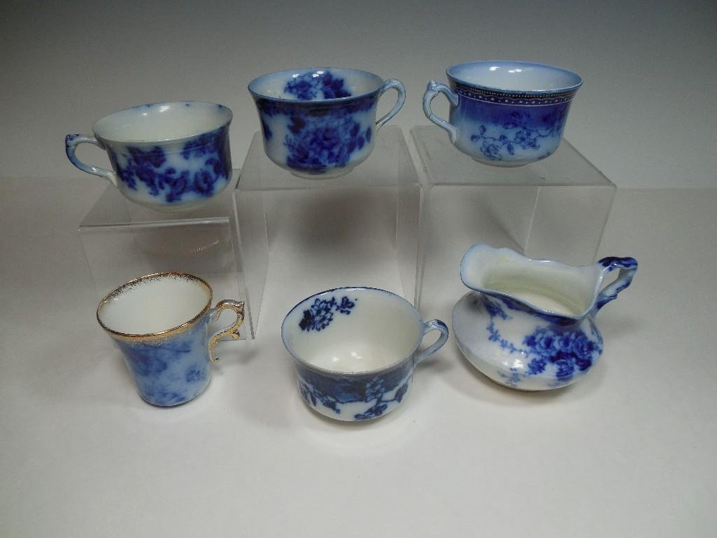 Group Lot Flow Blue Tea Cups, Creamer NICE