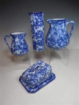 Group Lot Keeling Cavendish Flow Blue China Rare