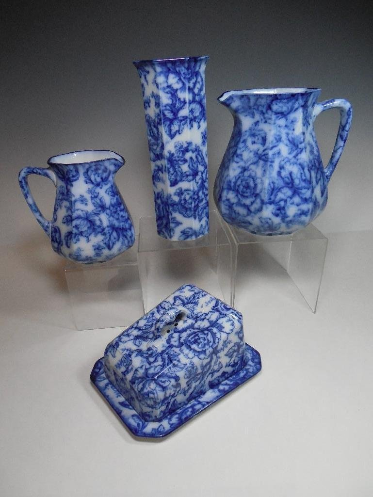 Group Lot Keeling Cavendish Flow Blue China Rare
