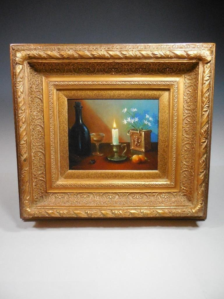 Vintage Signed Sill Life Oil on Canvas Painting