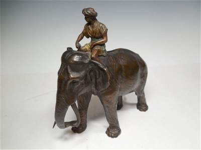 Old Cold Painted Bronze Statue by Franz Bergman