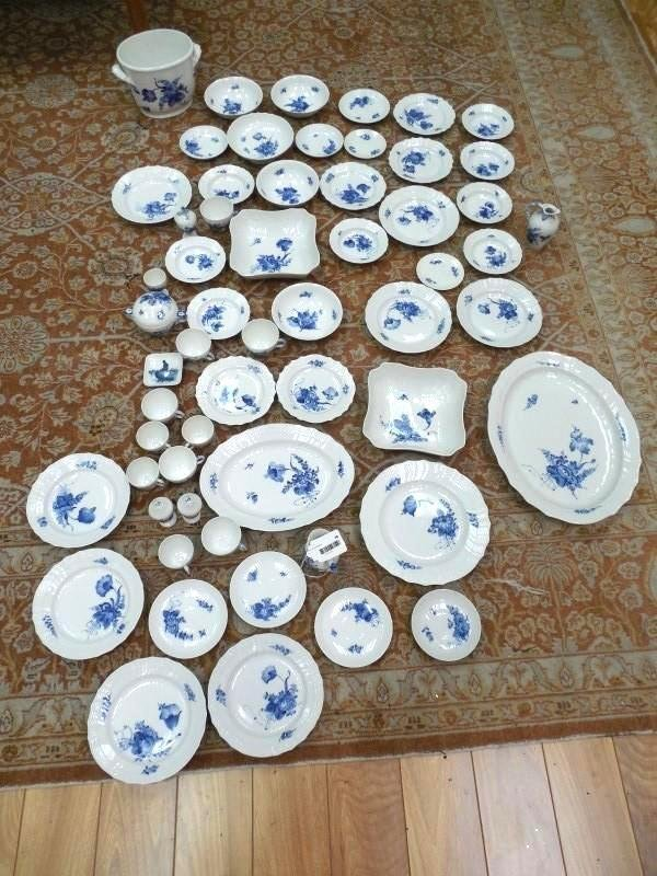59 pieces Excellent Royal Copenhagen China Blue Flowers