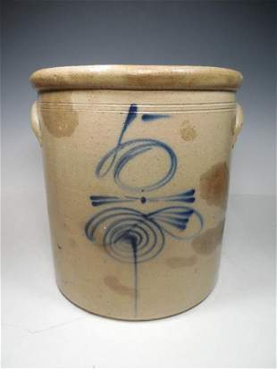 Bee Sting Cobalt Blue Decorated Stoneware Crock