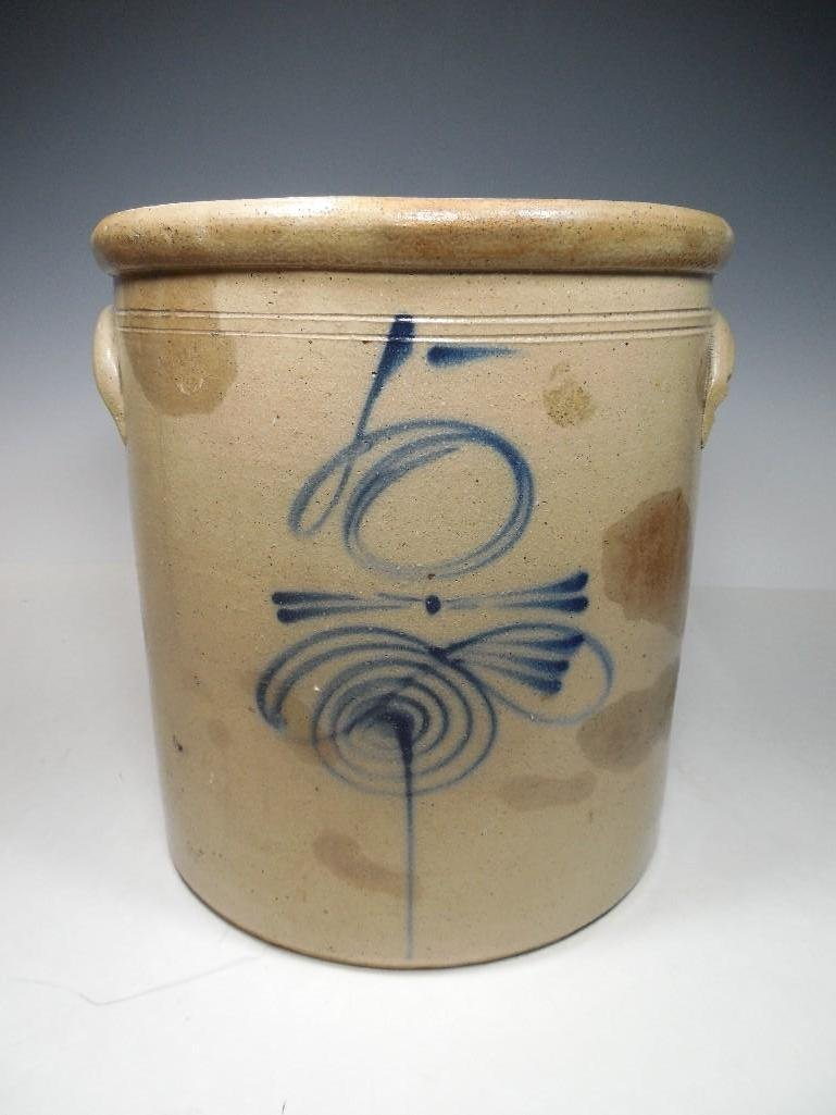 Bee Sting Cobalt Blue Decorated Stoneware Crock
