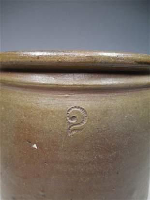 Unusual Incised #2 Stoneware Crock