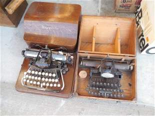 2 Rare Early Blickensderfer Typewriters in Cases