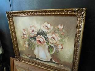Vintage Painting of Flowers by Deena Albers