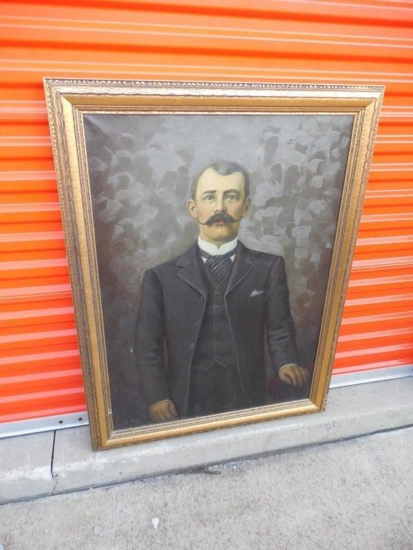 Large Antique Oil Painting of a Man by Louis Hart