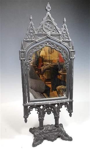 Unusual Antique Cast Iron Gothic Mirror