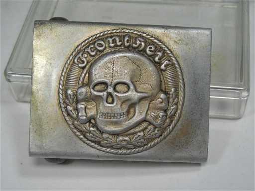 Unusual Nazi German Totenkopf Belt Buckle Military