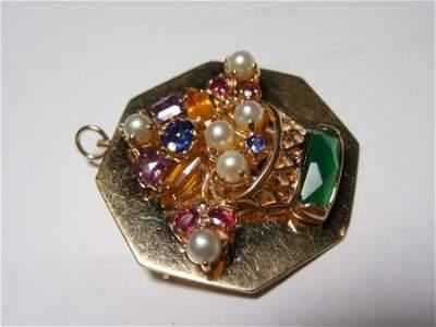 Antique 14k Gold Gemstone Flower Basket Brooch Pendant