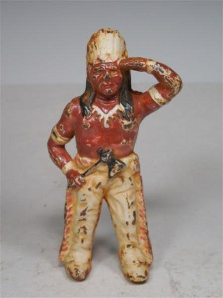 Painted Cast Iron Native American Indian Bank