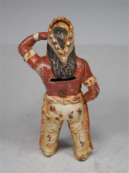 Painted Cast Iron Native American Indian Bank - 3