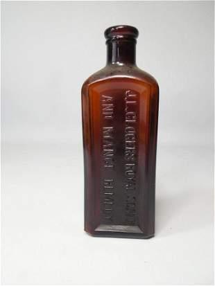 Antique Glass Bottle Royal Scalp Remedy Amber