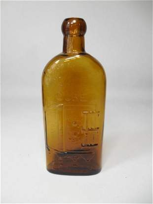 Old Glass Bottle Warner's Safe Cure Yellow Amber