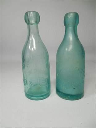 2 Antique Glass blob Top Bottles