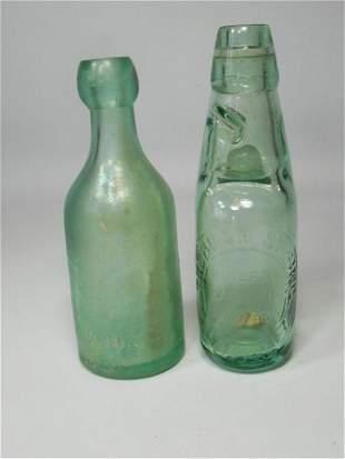 2 Antique Glass Bottles Blob Top, Rolling Ball