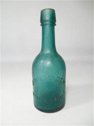 Pretty Blue Glass Bottle John Ryder