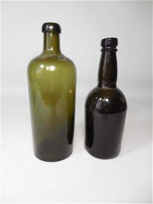 2 Antique Green Bottles Wine or Spirits Early