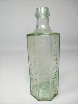 Antique Glass Bottle Brant Indian Balsam Pontil