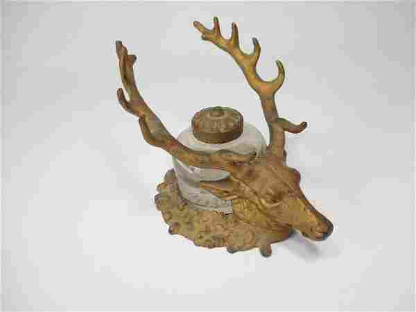 Antique Deer Stag Head Inkwell Pen Rest