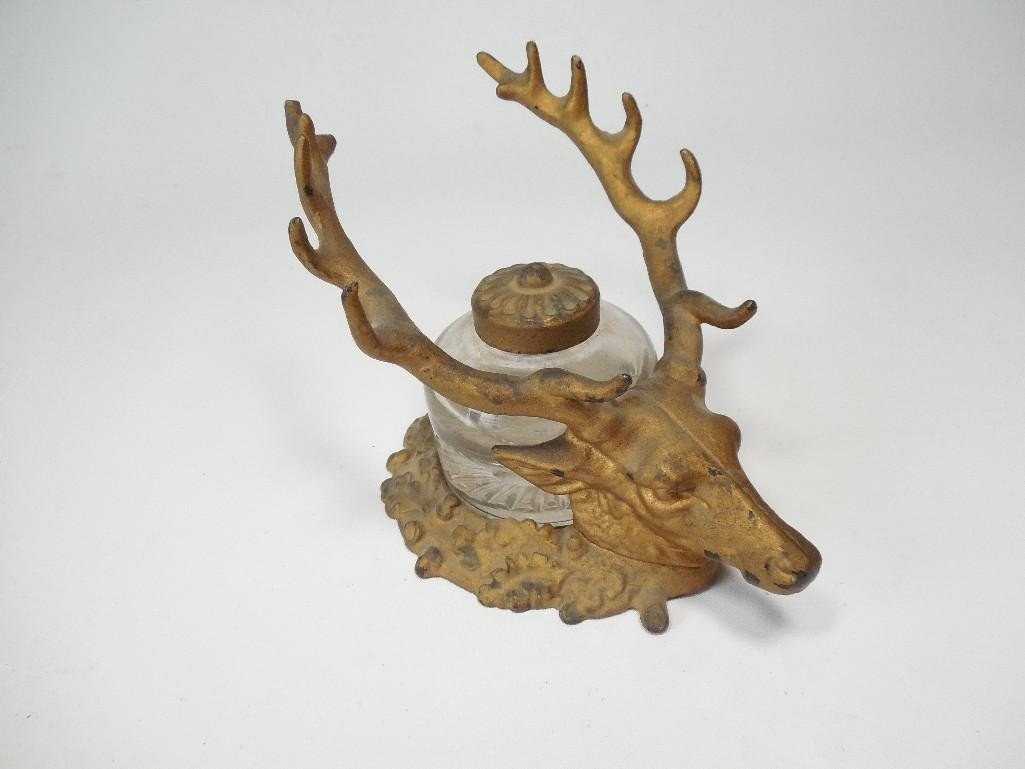 Antique Deer Stag Head Inkwell Pen Rest
