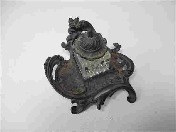 Victorian Cast Iron Inkwell