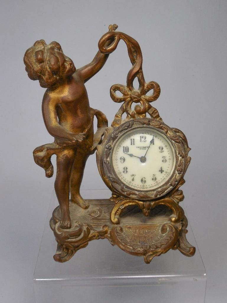 New Haven Desk Clock w/Cherub Statue