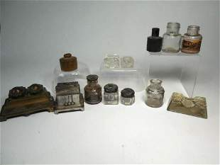 Large Lot Inkwells Ink Related Items