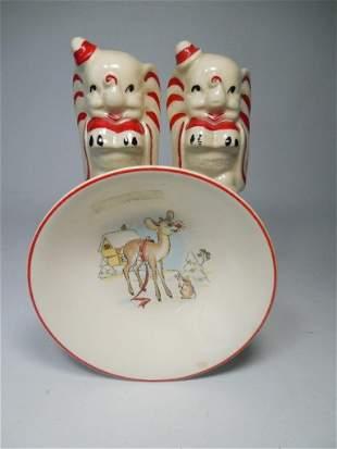 Group Lot Disney Ceramic Items - Shakers, Plate