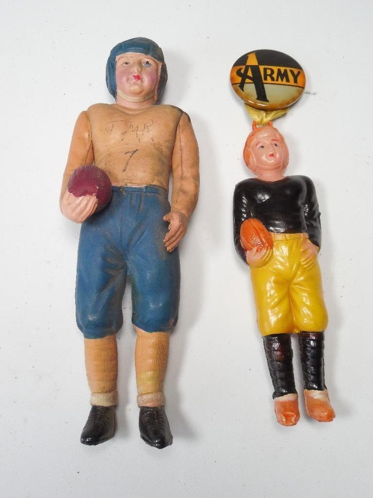2 Antique Celluloid Football Players Inc. Army
