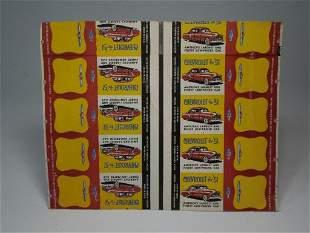 Sheet Chevrolet 1951 Advertising Match books