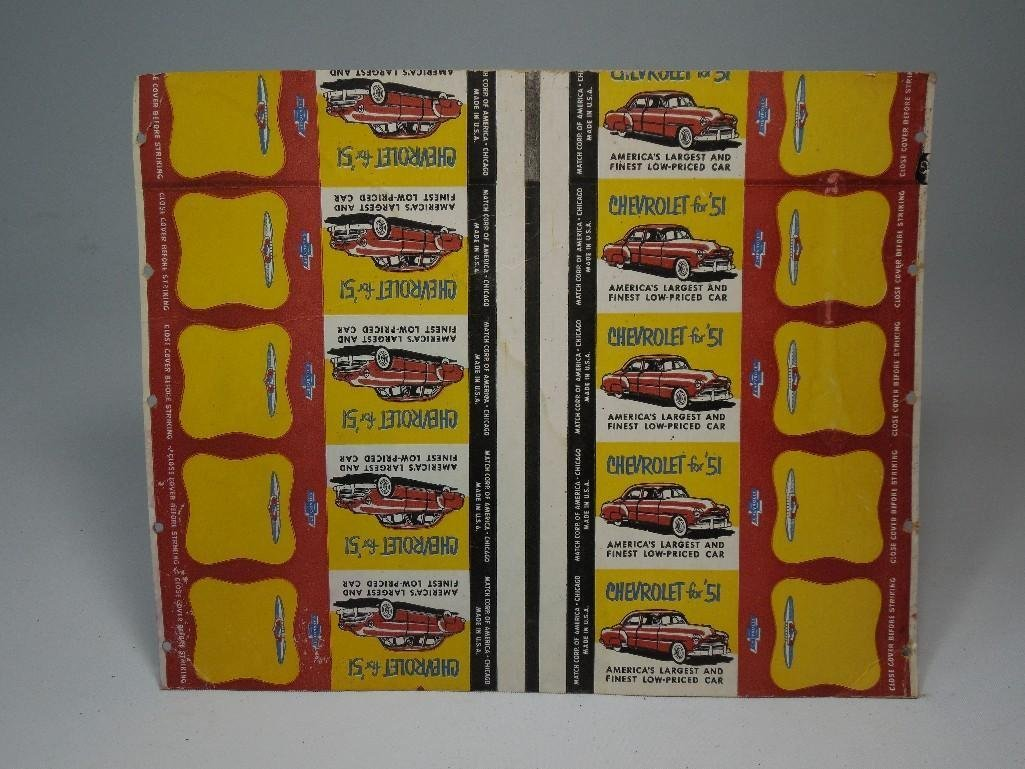 Sheet Chevrolet 1951 Advertising Match books
