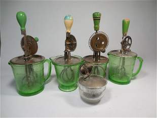 Group Lot of 4 Depression Glass Churns/Measuring