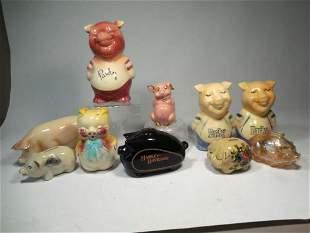 Group Lot Antique Ceramic Pig Banks Inc. Parky