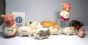 Antique Group Lot Ceramic Pig Banks Inc. Parky