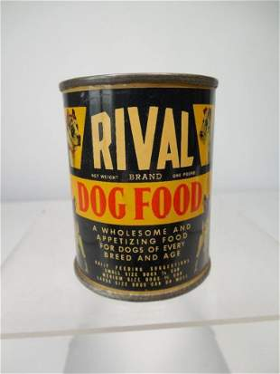 Antique Rival Dog Food Can Bank